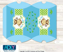 Boy Monkey Pillow Box for Candy, Little Treats or Small Gift of any Baby Shower or Birthday, Blue Green , Jungle