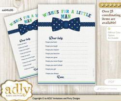 Navy Tie Bow Wishes for a Baby, Well Wishes for a Little Tie Bow Printable Card, Polka, Lime Blue