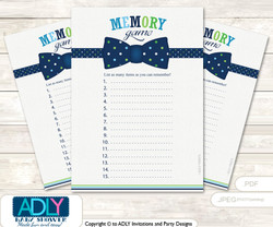 Navy Tie Bow Memory Game Card for Baby Shower, Printable Guess Card, Lime Blue, Polka