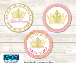 Printable  Pink Princess Candy Kisses for Baby Pink Shower DIY Crown , Royal