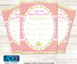 Pink Princess Guess Baby Food Game or Name That Baby Food Game for a Baby Shower, Crown Royal