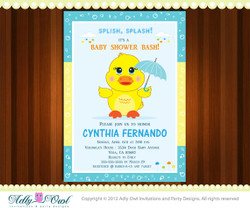 Personalized Duck Boy Baby Shower, Rubber Duck Shower Printable DIY party invitation for boy  or girl- ONLY digital file - you print