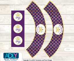 Printable Royal Princess Cupcake, Muffins Wrappers plus Thank You tags for Baby Shower Gold Teal, Purple