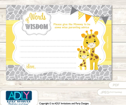 Grey Yellow Neutral Giraffe Words of Wisdom or an Advice Printable Card for Baby Shower, Safari