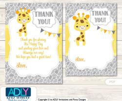 Neutral  Giraffe Thank you Cards for a Baby Neutral Shower or Birthday DIY Grey Yellow, Safari