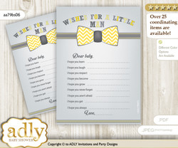 Little Man Bow Tie Wishes for a Baby, Well Wishes for a Little Bow Tie Printable Card, Chevron, Yellow Grey