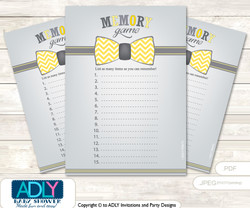 Little Man Bow Tie Memory Game Card for Baby Shower, Printable Guess Card, Yellow Grey, Chevron