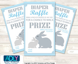 Boy Bunny Diaper Raffle Printable Tickets for Baby Shower, Blue Green, Rabbit