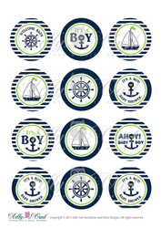 Nautical Baby Shower Cupcake Toppers,Favor Tags, Ahoy - Anchor - It's a Boy Printable DIY Green Navy - ONLY digital file - you print SKU41