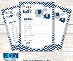 Boy Peanut Wishes for a Baby, Well Wishes for a Little Peanut Printable Card, Chevron, Blue Grey