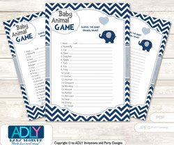Printable Boy Peanut Baby Animal Game, Guess Names of Baby Animals Printable for Baby Peanut Shower, Blue Grey, Chevron