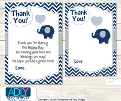Boy  Peanut Thank you Cards for a Baby Boy Shower or Birthday DIY Blue Grey, Chevron