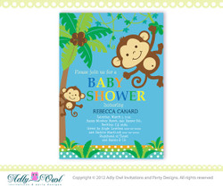 Personalized  Blue Brown Jungle Boy Monkeys Baby Shower Printable DIY party invitation for boy - ONLY digital file - you print