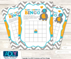 Printable Teal Orange Peanut Bingo Game Printable Card for Baby Boy Shower DIY grey, Teal Orange, Chevron