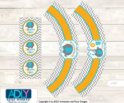 Printable Boy Peanut Cupcake, Muffins Wrappers plus Thank You tags for Baby Shower Teal Orange, Chevron