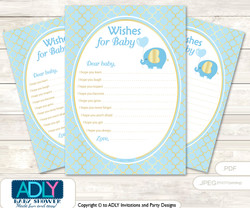 Boy Elephant Wishes for a Baby, Well Wishes for a Little Elephant Printable Card, Gold, Baby Blue