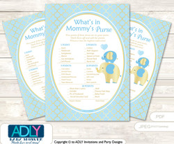 Boy Elephant What is in Mommy's Purse, Baby Shower Purse Game Printable Card , Baby Blue,  Gold