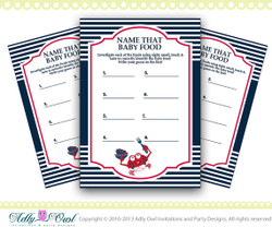 Nautical Baby Food Game, Name that food Nautical Baby Shower Printable- crab, anchor, navy blue red DIY- ONLY digital file - you print SKU41