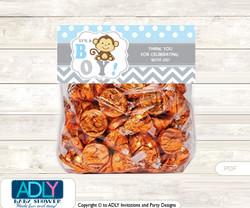 Printable Boy Monkey Treat or Goodie bag Toppers for Baby Boy Shower or Birthday DIY Grey , Chevron