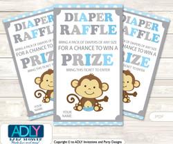 Boy Monkey Diaper Raffle Printable Tickets for Baby Shower, Grey , Chevron
