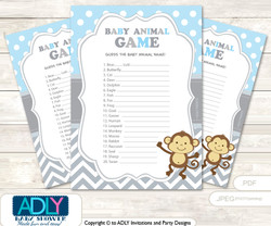 Printable Boy Monkey Baby Animal Game, Guess Names of Baby Animals Printable for Baby Monkey Shower, Grey , Chevron