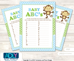 Boy Monkey Baby ABC's Game, guess Animals Printable Card for Baby Monkey Shower DIY –Polka