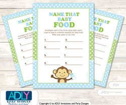Boy Monkey Guess Baby Food Game or Name That Baby Food Game for a Baby Shower, Green Polka