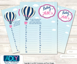 Girl Air Balloon Baby ABC's Game, guess Animals Printable Card for Baby Air Balloon Shower DIY –Pink