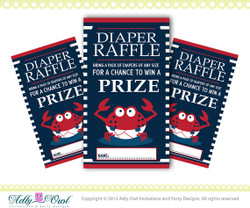 Diaper Raffle for  Nautical Baby Shower in Navy, Blue, Red, with crab, anchor, navy blue red DIY- ONLY digital file - you print SKU41