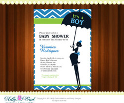 It's a boy Personalized Baby Shower chevron Printable DIY party invitation - ONLY digital file - you print
