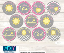 Baby Shower Girl Sunshine Cupcake Toppers Printable File for Little Girl and Mommy-to-be, favor tags, circle toppers, Pink, Gray