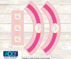 Printable Crown Tiara Cupcake, Muffins Wrappers plus Thank You tags for Baby Shower Pink Gold, Royal