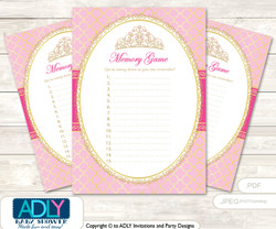 Crown Tiara Memory Game Card for Baby Shower, Printable Guess Card, Pink Gold, Royal