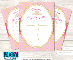 Crown Tiara Guess Baby Food Game or Name That Baby Food Game for a Baby Shower, Pink Gold Royal