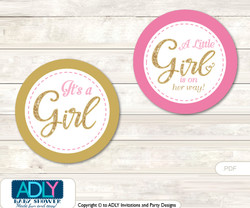 Personalized Girl Bokeh Printable Banner for Baby Shower, Gold Pink, Glitter