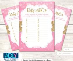 Girl Bokeh Baby ABC's Game, guess Animals Printable Card for Baby Bokeh Shower DIY –Glitter
