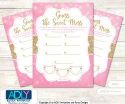 Girl Bokeh Dirty Diaper Game or Guess Sweet Mess Game for a Baby Shower Gold Pink, Glitter
