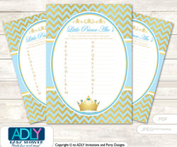 Blue Prince Baby ABC's Game, guess Animals Printable Card for Baby Prince Shower DIY –Gold