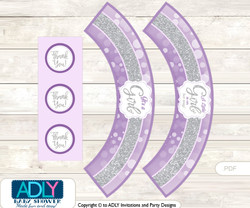 Printable Purple Girl Cupcake, Muffins Wrappers plus Thank You tags for Baby Shower Gray, Bokeh
