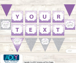 Personalized Purple Girl Printable Banner for Baby Shower, Gray, Bokeh
