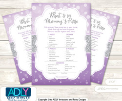 Purple Girl What is in Mommy's Purse, Baby Shower Purse Game Printable Card , Gray,  Bokeh