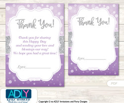 Purple  Girl Thank you Cards for a Baby Purple Shower or Birthday DIY Gray, Bokeh