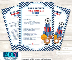 Printable Boy MVP Price is Right Game Card for Baby MVP Shower, Basketball, All Star