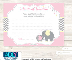 Yellow Girl Elephant Words of Wisdom or an Advice Printable Card for Baby Shower, Chevron
