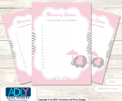 Girl Elephant Memory Game Card for Baby Shower, Printable Guess Card, Yellow, Chevron