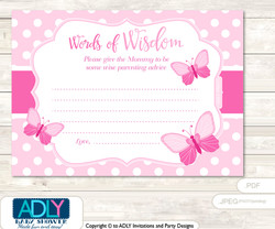 Soft Pink Pink Butterfly Words of Wisdom or an Advice Printable Card for Baby Shower, Polka