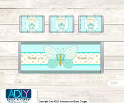 Neutral Butterfly Chocolate Bar Wrapper and Nuggets Candy Wrapper Label for Baby Neutral Shower  Turquoise , Aqua