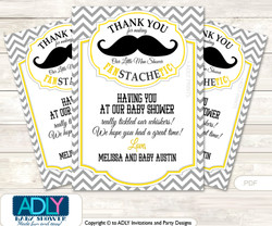 Yellow Mustache Thank you Printable Card with Name Personalization for Baby Shower or Birthday Party
