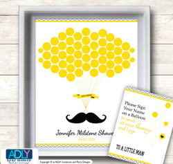 Yellow Mustache Guest Book Alternative for a Baby Shower, Creative Nursery Wall Art Gift, Grey, Chevron