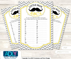 Yellow Mustache Baby ABC's Game, guess Animals Printable Card for Baby Mustache Shower DIY –Chevron
